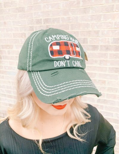 """Camping Hair Don't Care"" Hat (Green)"